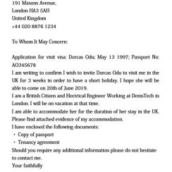 sample visa invitation letter