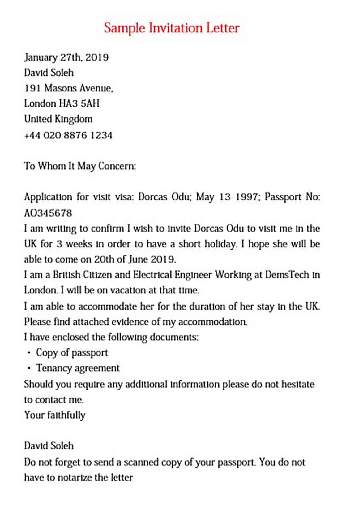 visa invitation letter for doc  pdf  word