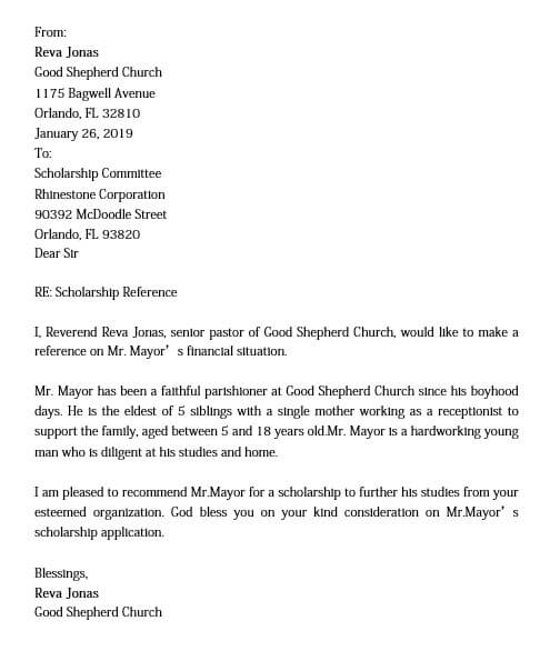 scholarship recommendation letter from pastor