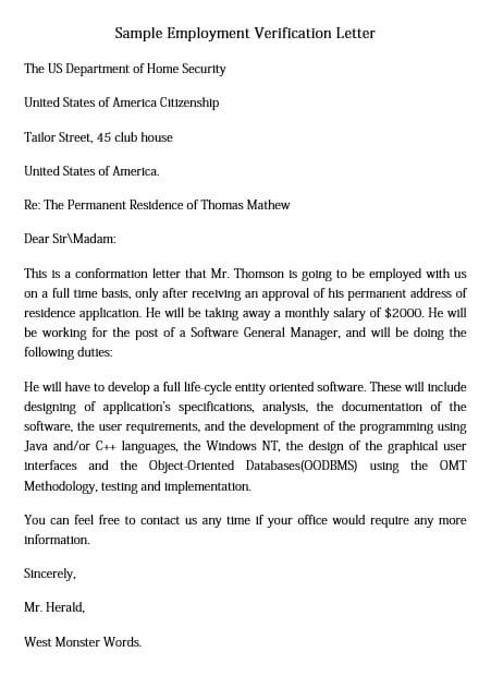 simple employment verification letter