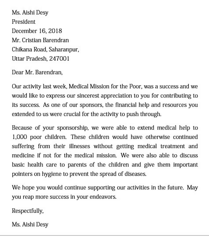 sponsor appreciation letter