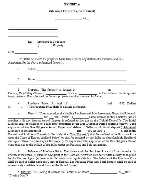 standard form of letter of intent to purchase property