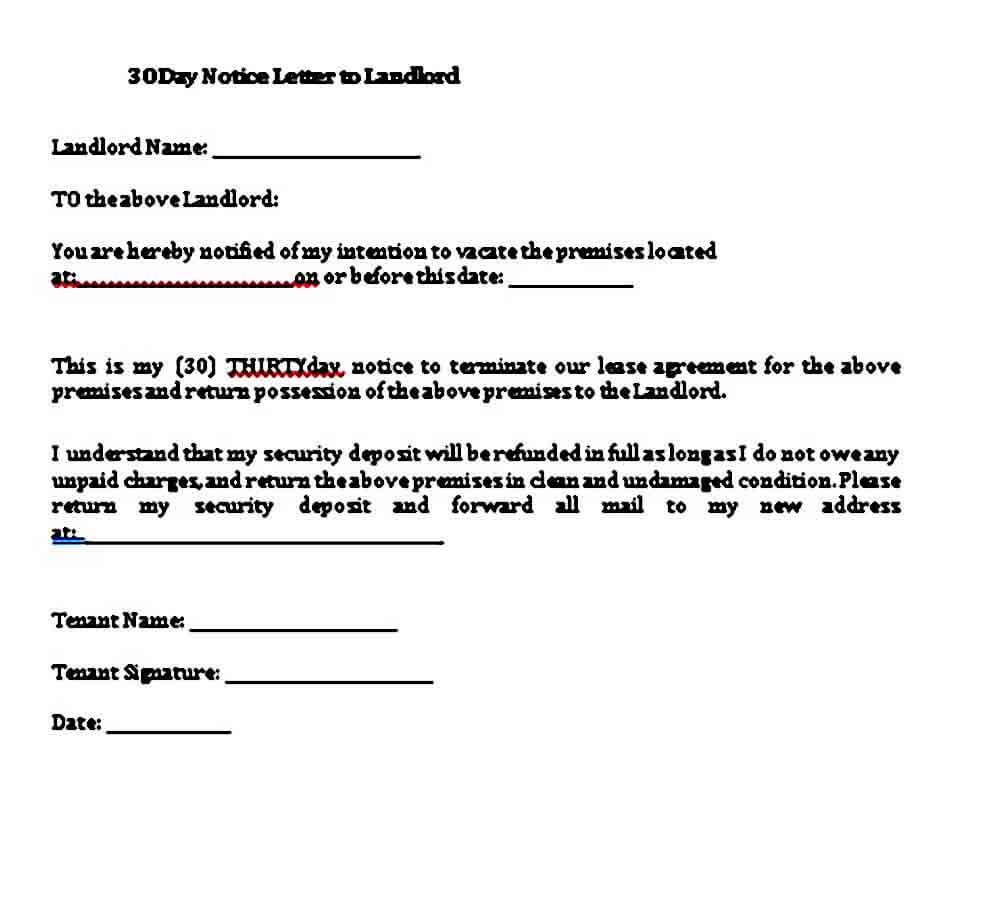 day notice letter to landlord