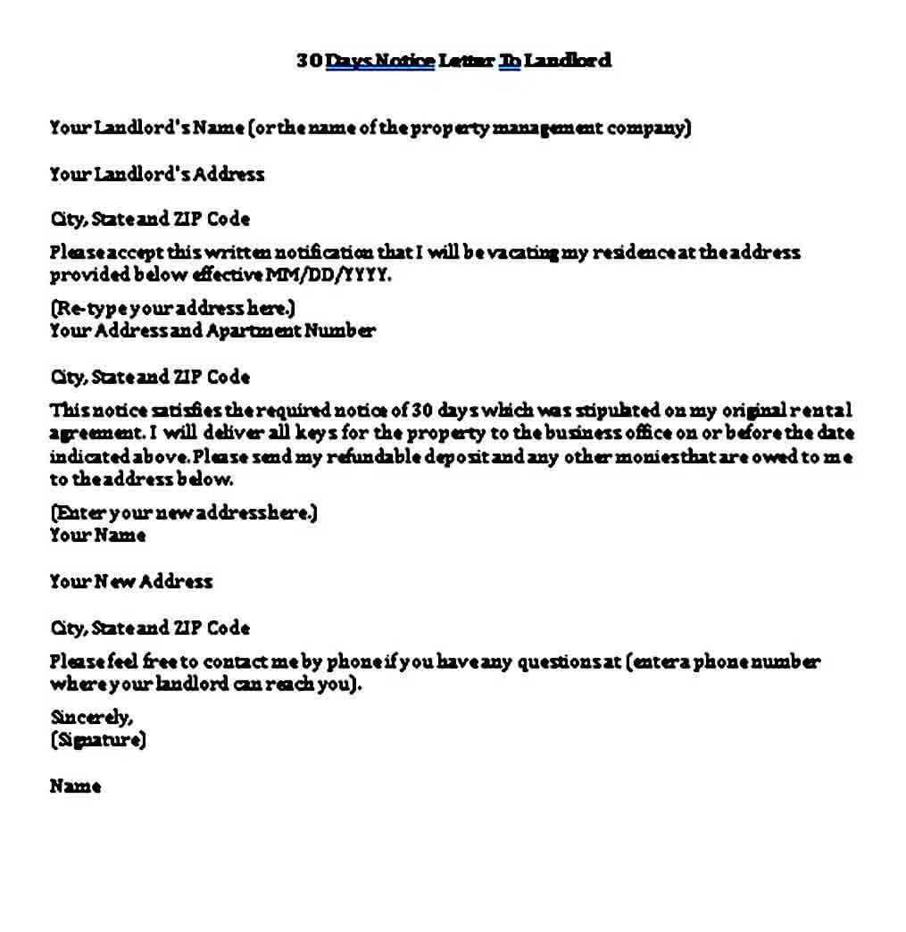 sample 30 days notice letter to landlord template