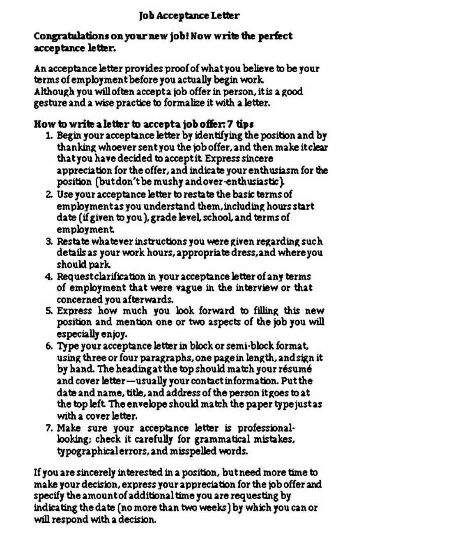 Academic Job Acceptance Letter Format