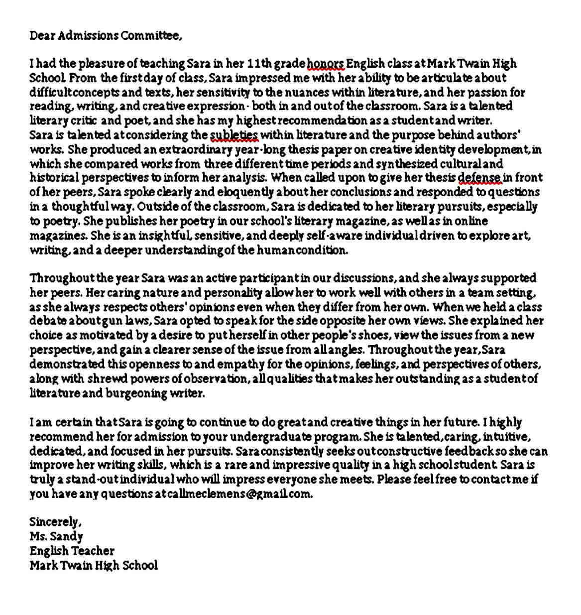 Academic Reference Letter for Student