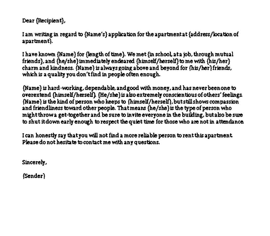 Apartment Rental Reference Letter