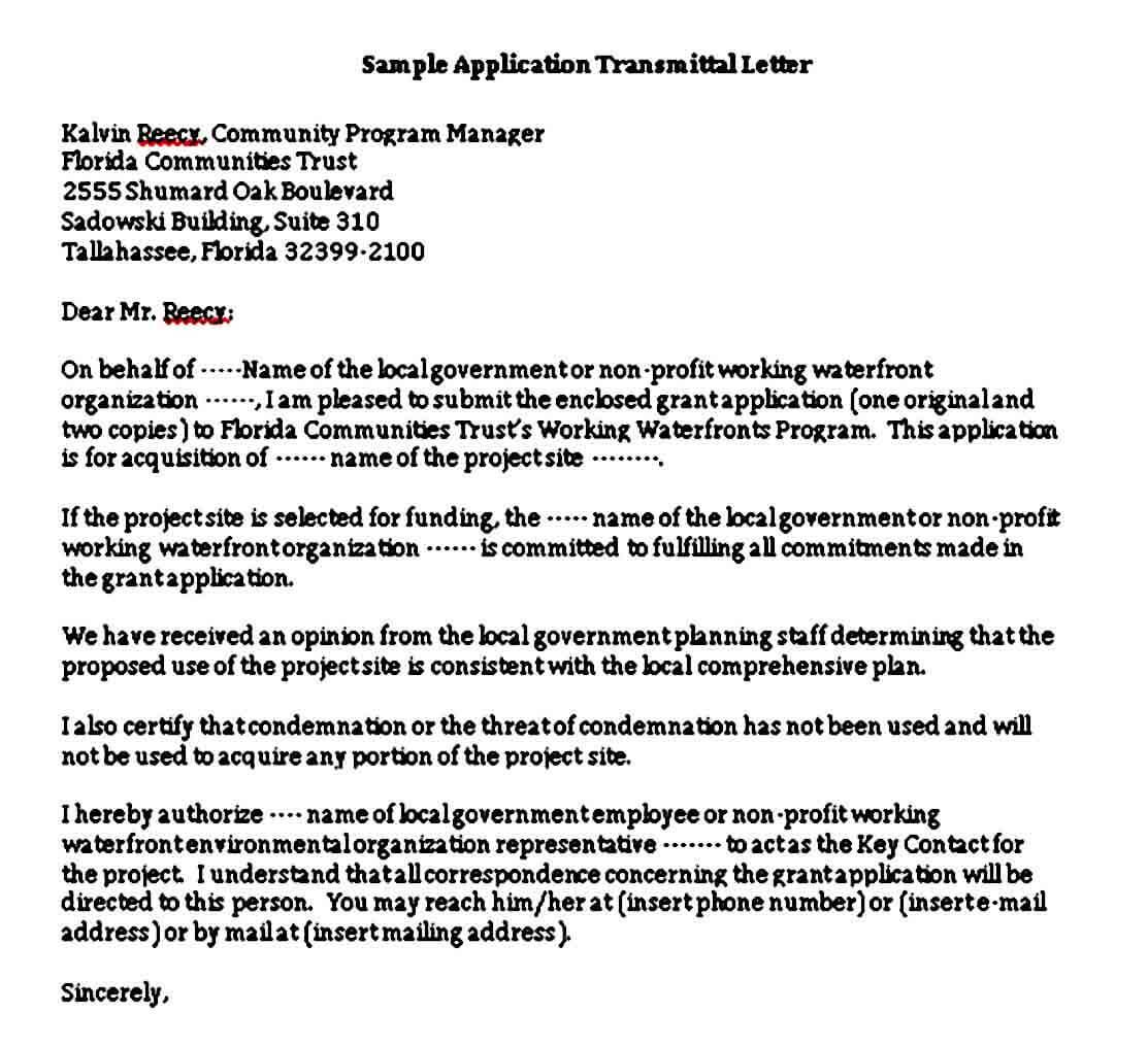 Application Transmittal Letter