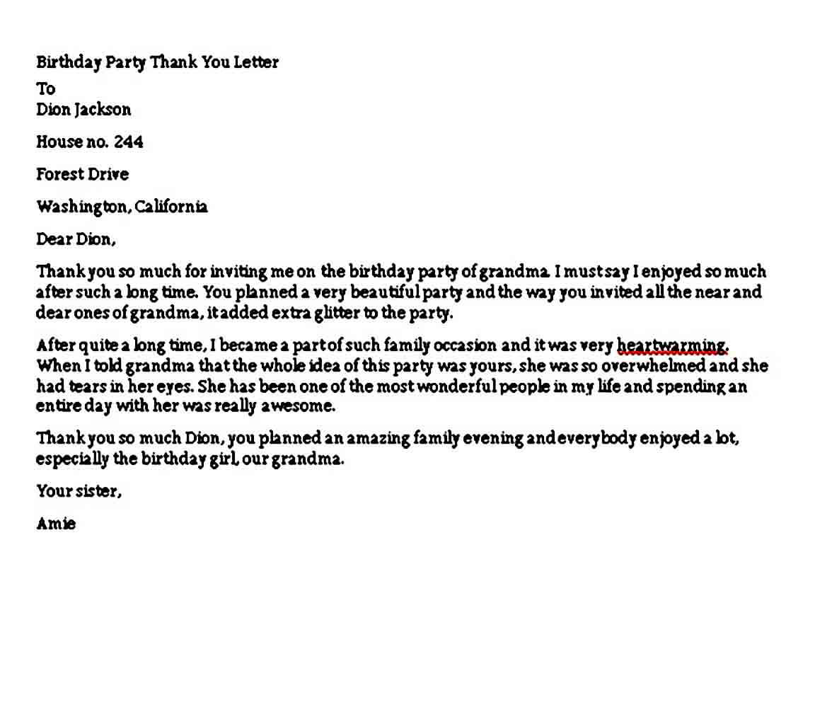 Birthday Party Thank You Letter