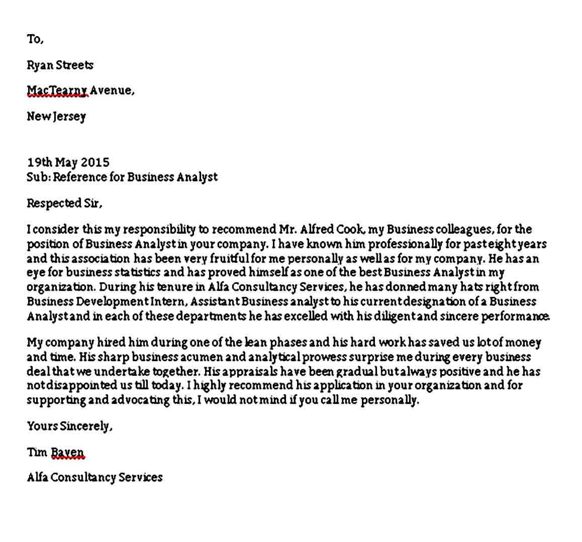 Business Analyst Reference Letter