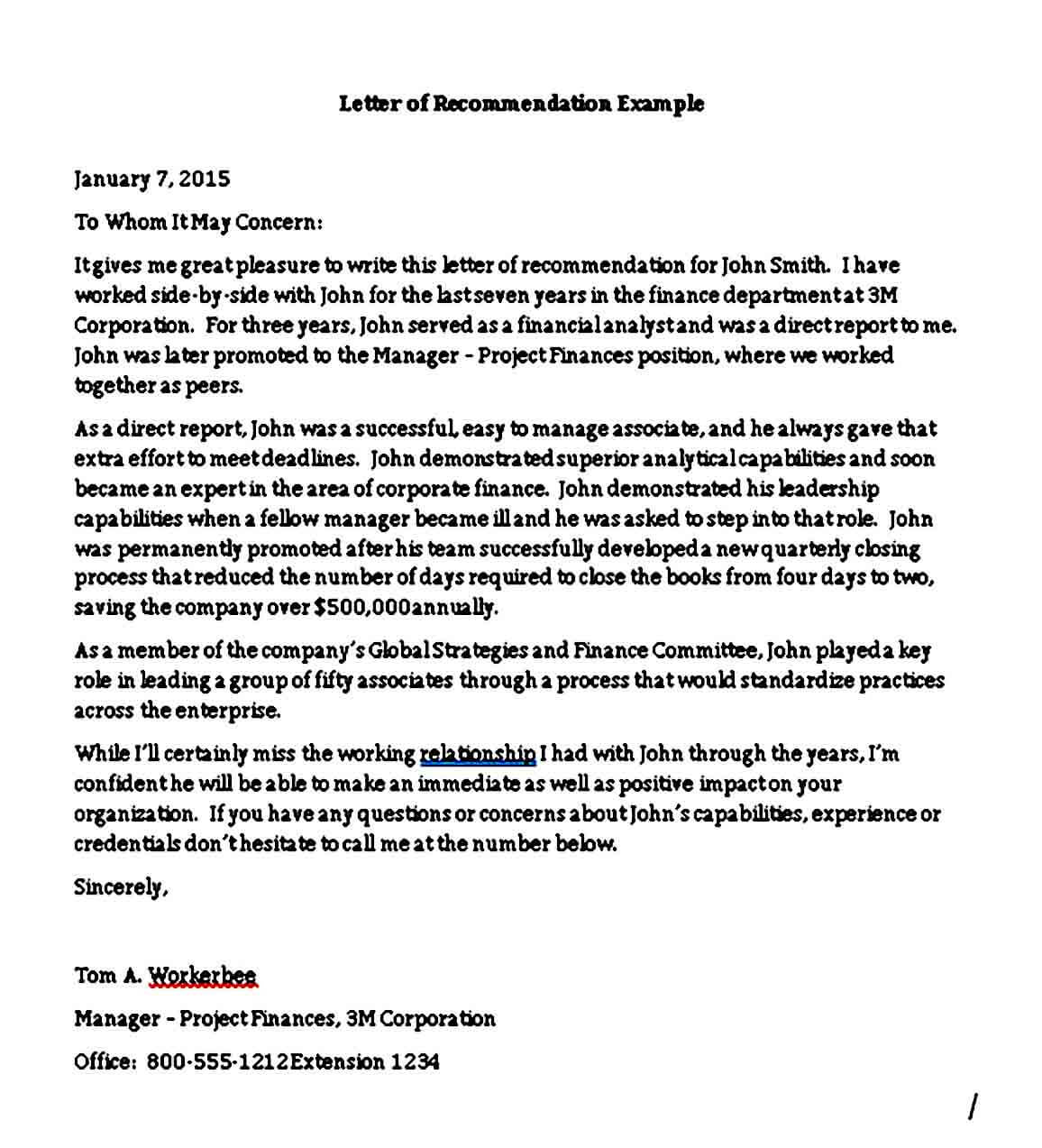 Business Associate Reference Letter