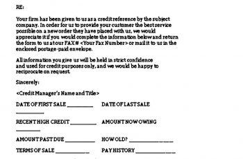 Business Credit Reference Letter