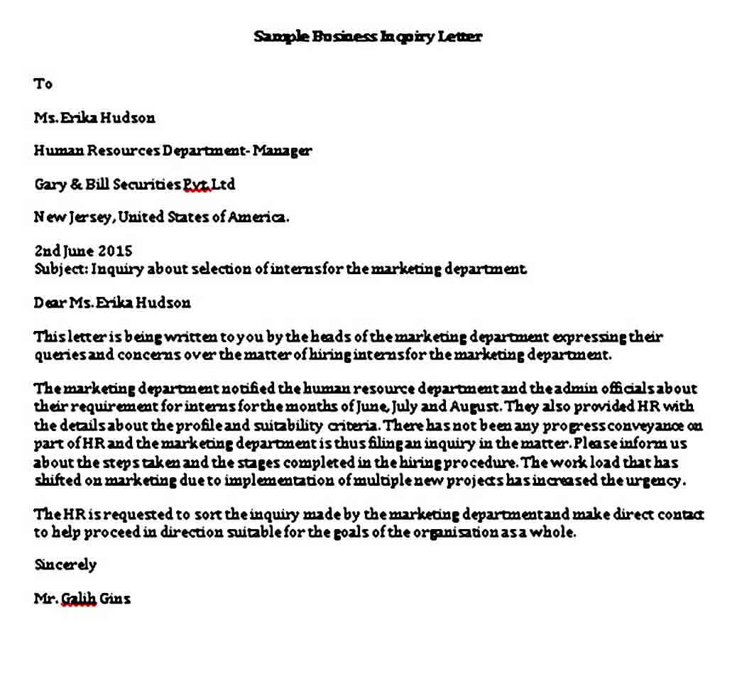 Business Inquiry Letter templates in Word Format