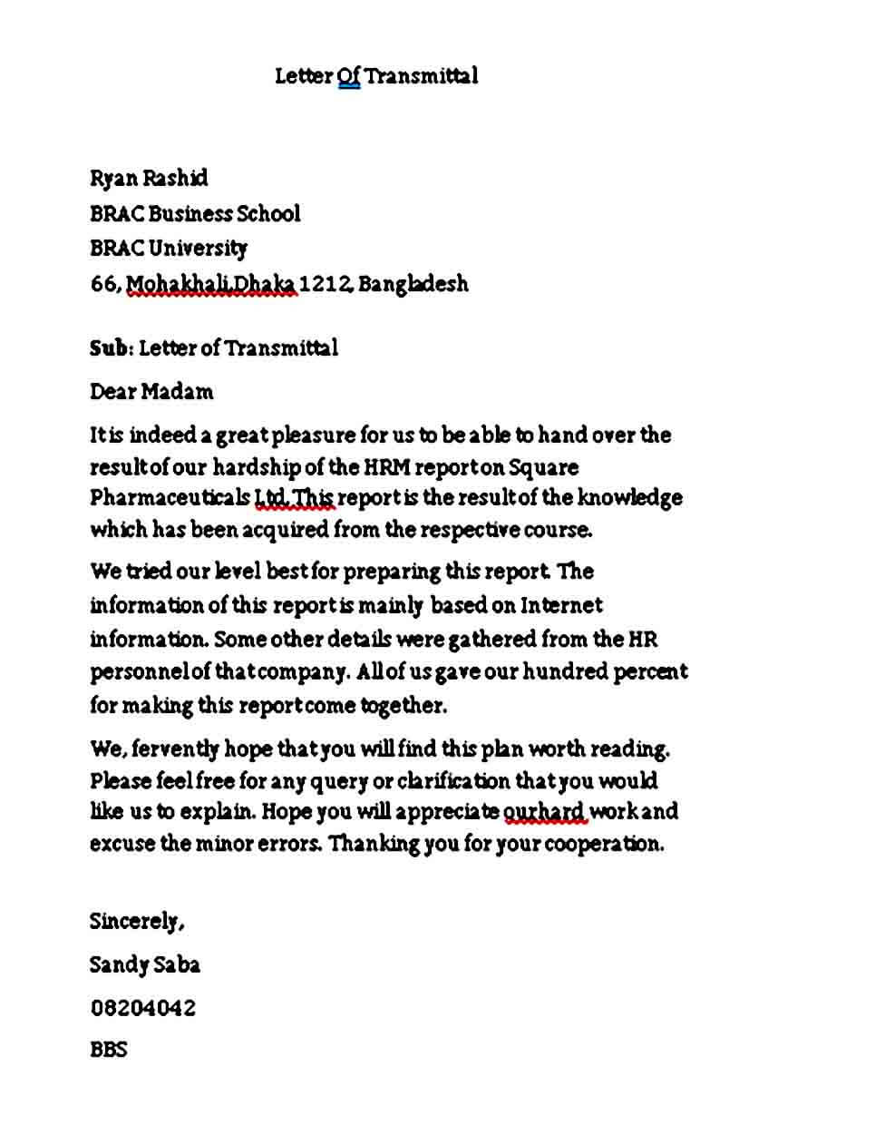 Business Letter of Transmittal Example