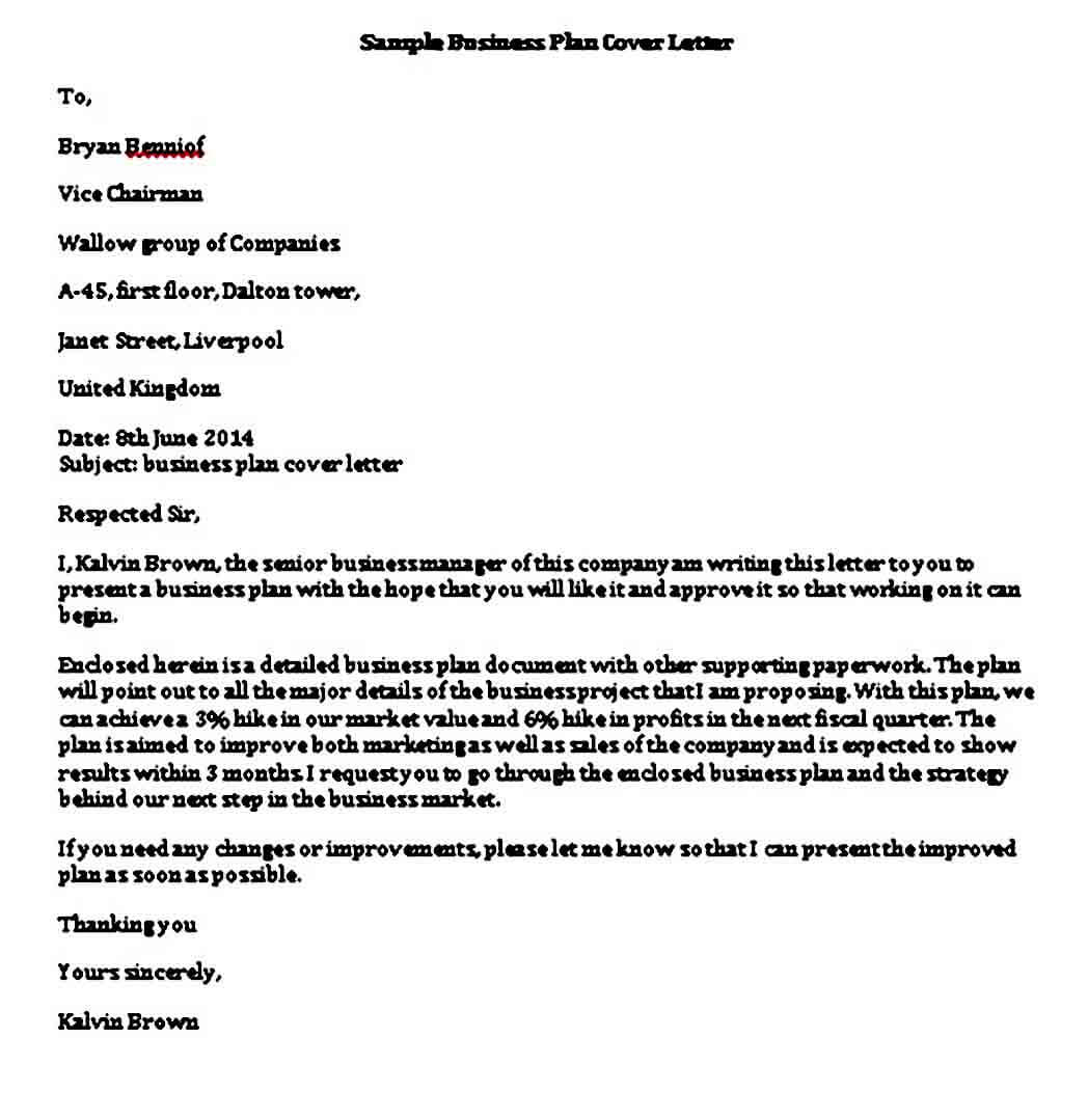 Business Plan Cover Letter templates Word
