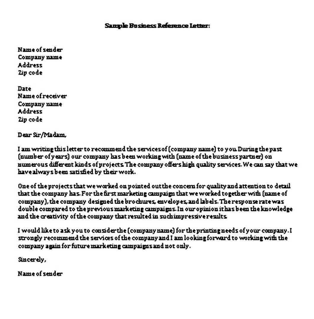 Business Reference Letter templates Word