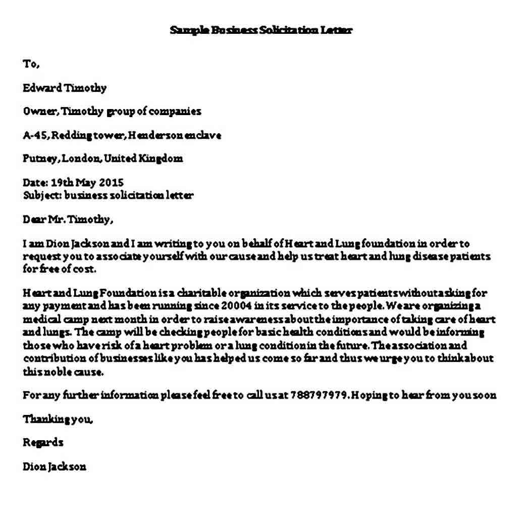 Business Solicitation Letter templates Word