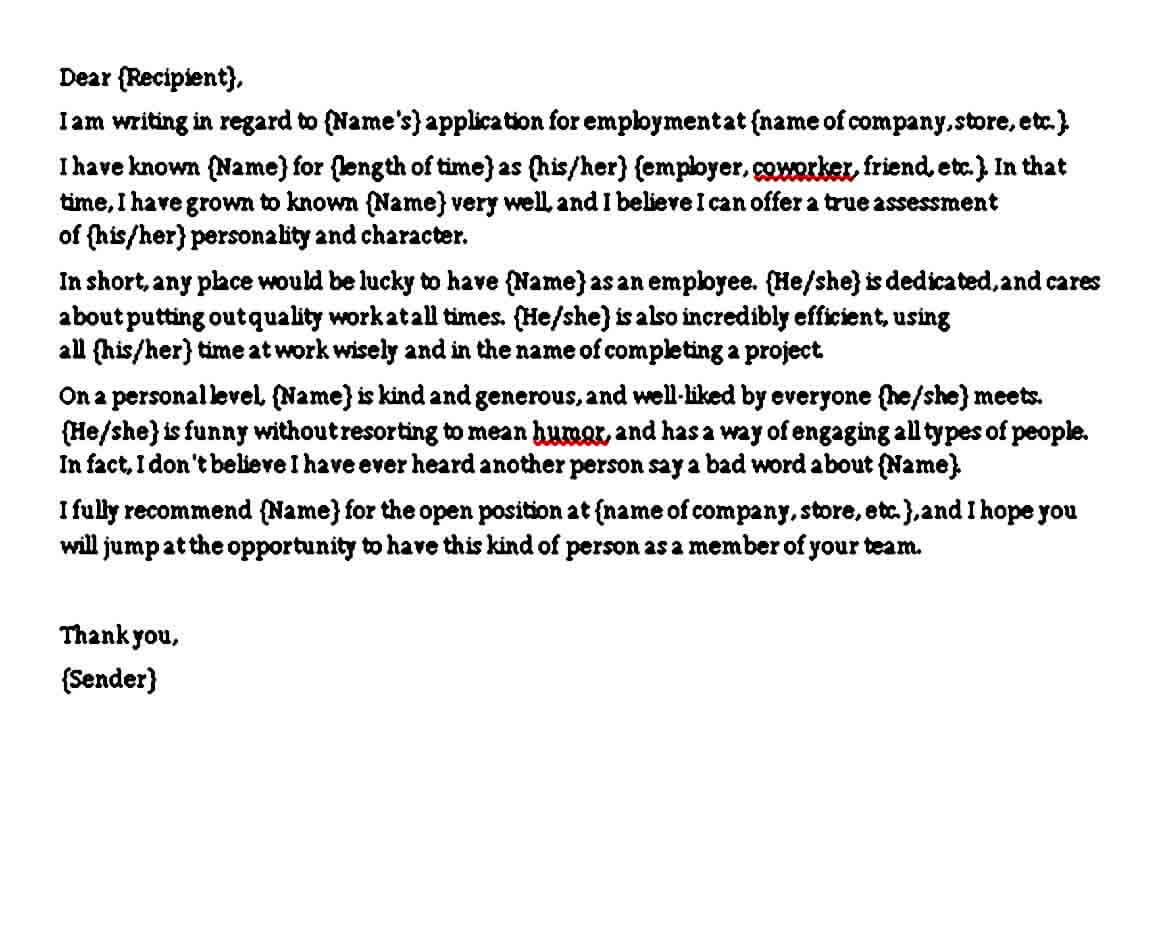 Character Reference Letter for Job