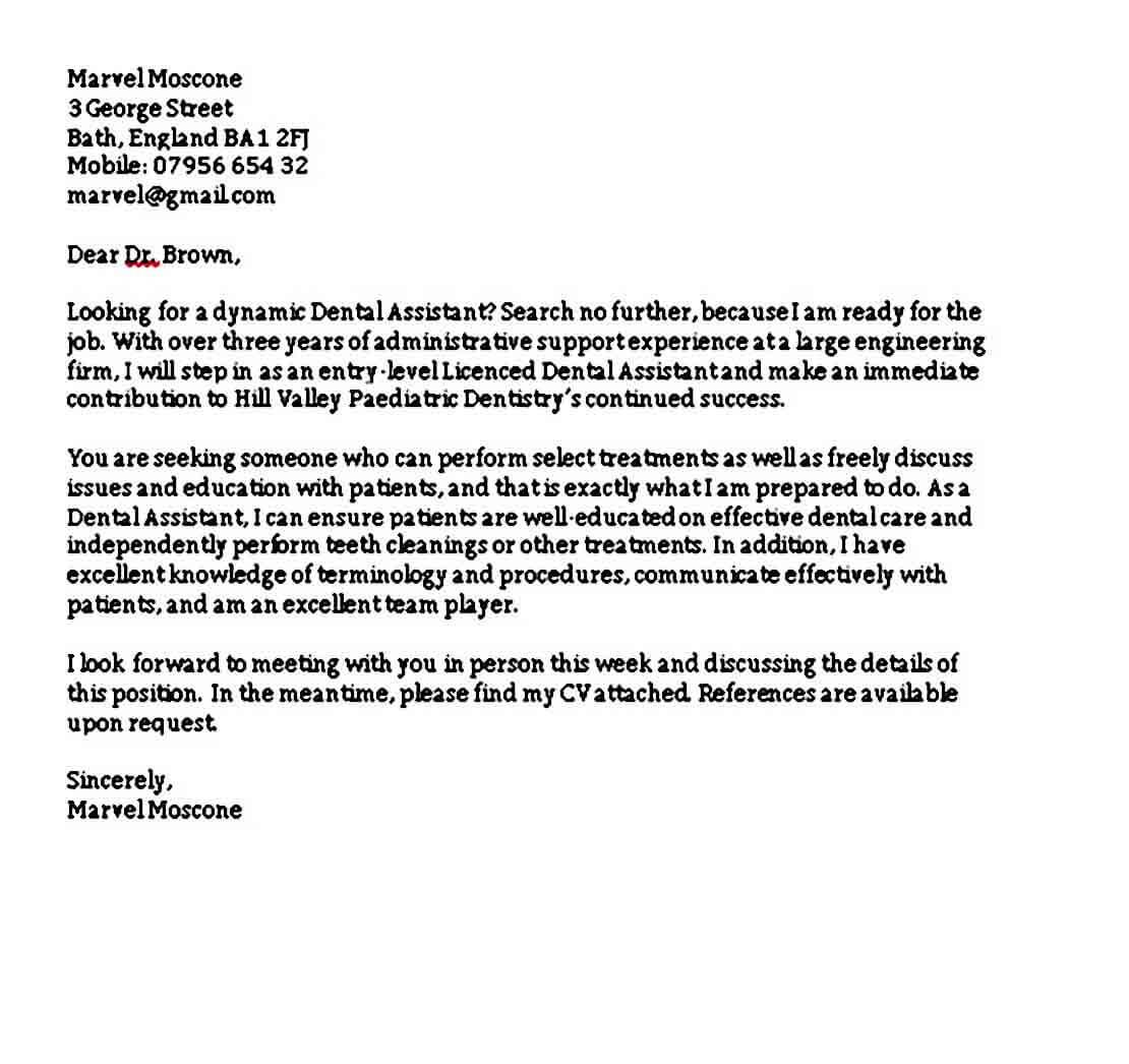 Cover Letter For Dental Assistant