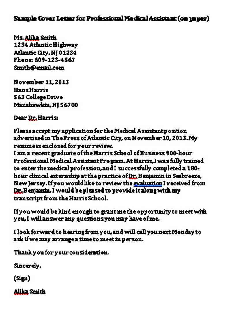 Cover Letter For Professional Medical Assistant