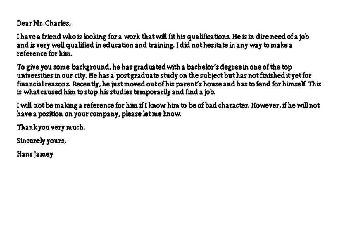 Cover Letter Referred by Friend