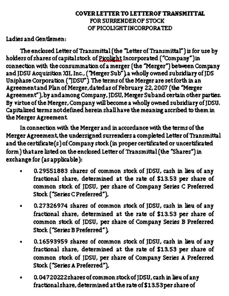 Cover Letter of Transmittal