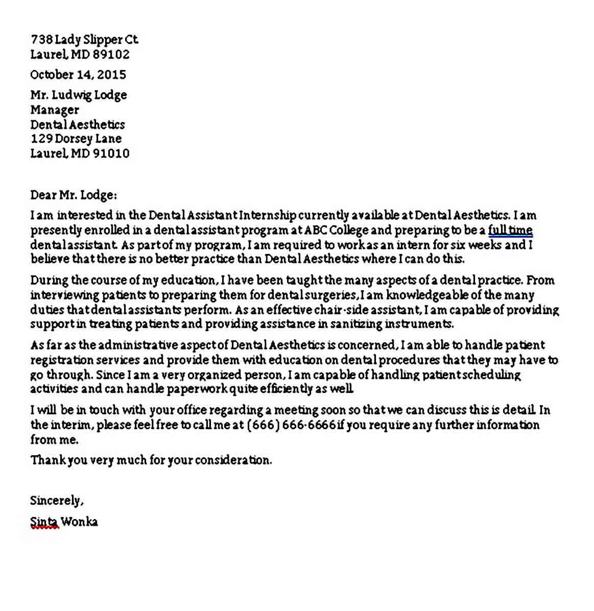 Dental Assistant Cover Letter for Internship