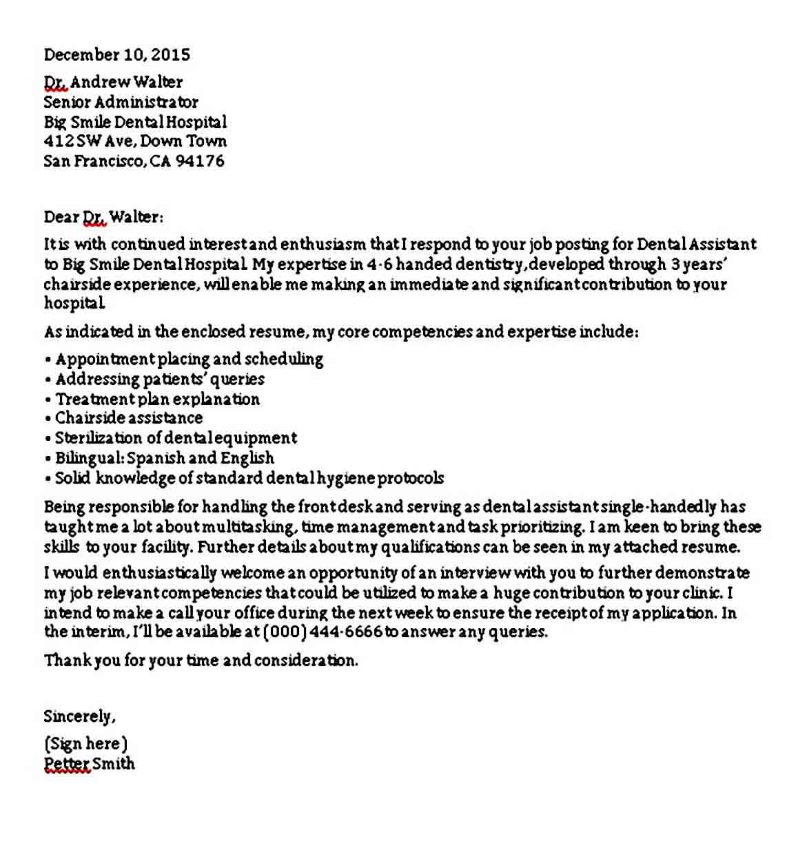 Dental Assistant Cover Letter without Experience