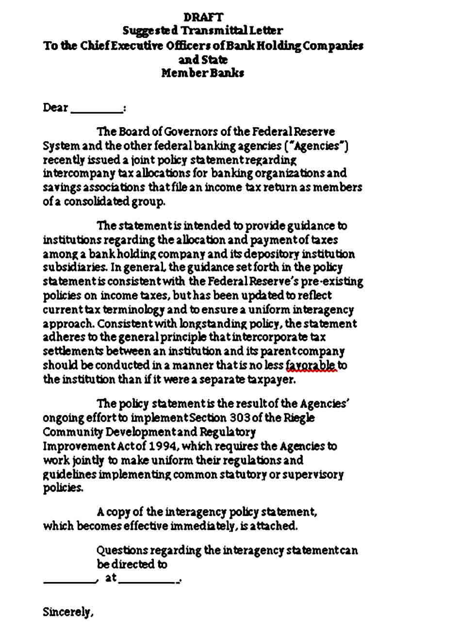 Draft Suggested Transmittal Letter