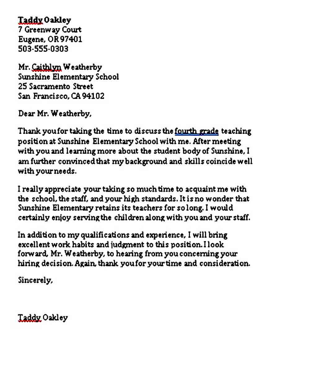 Elementary School Teacher Thank You Letter