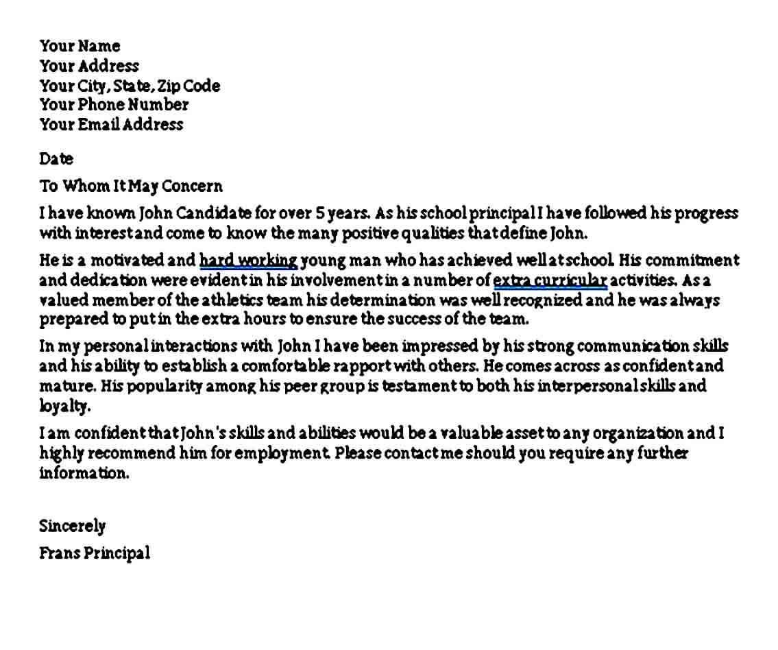 Employment Personal Reference Letter