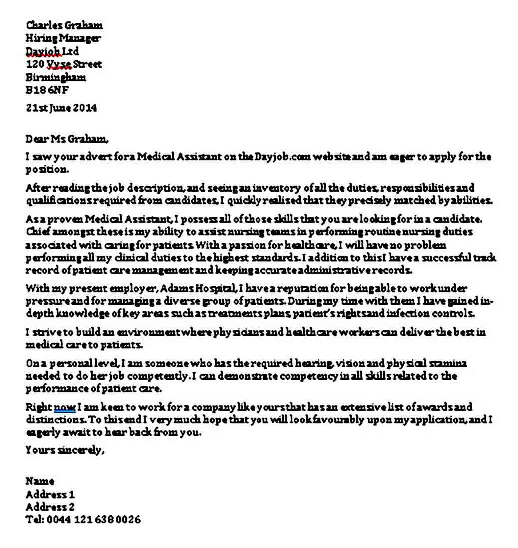 Entry Level Medical Assistant Cover Letter