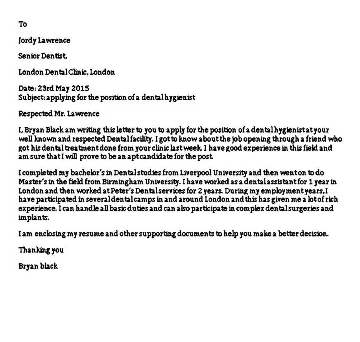 Example Dental Assistant Cover Letter