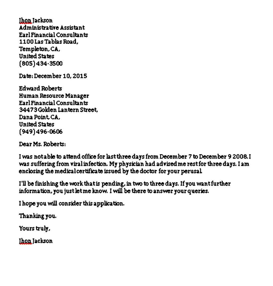 Example of Formal Excuse Letter for College Student