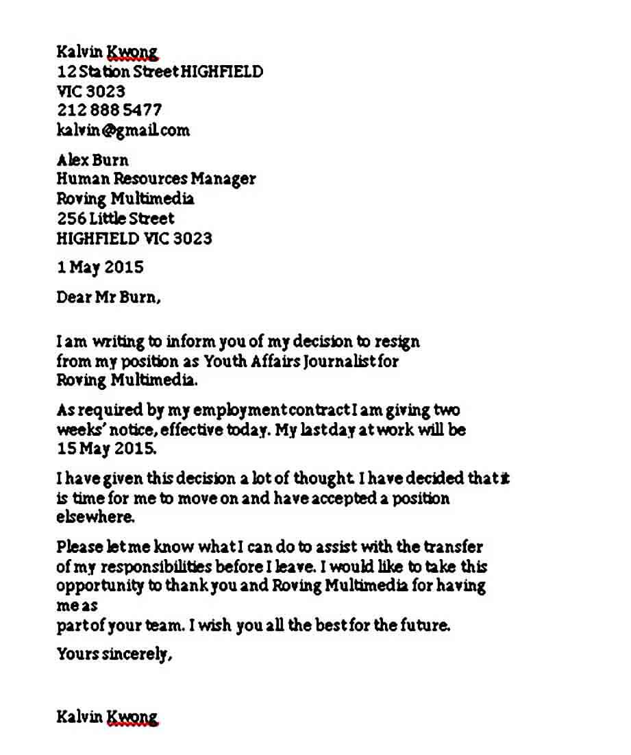 Example of Resignation Letter Weeks Notice
