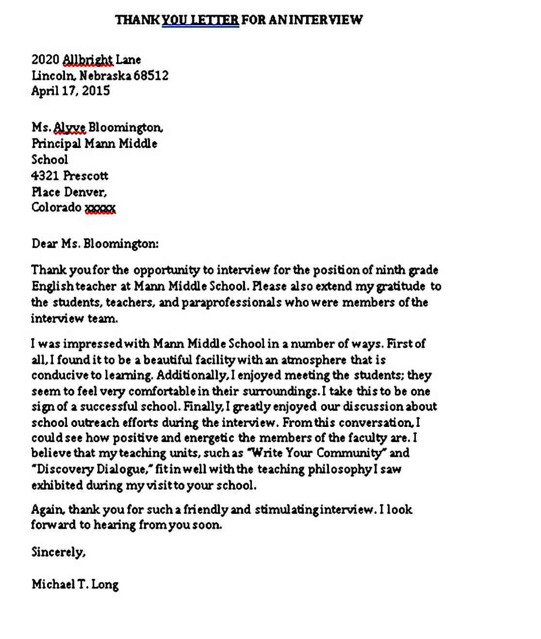 Example of Teacher Interview Thank You Letter
