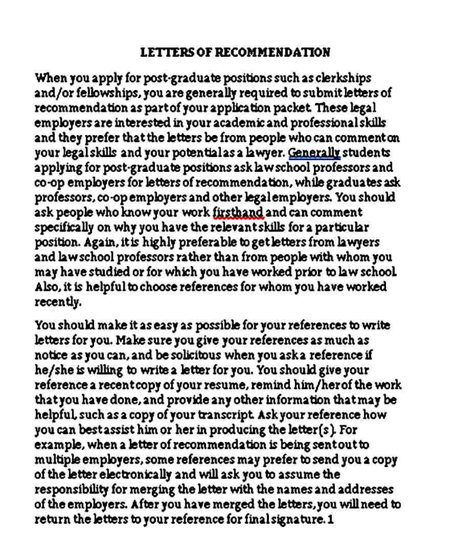 Fellowship Recommendation Letter Sample