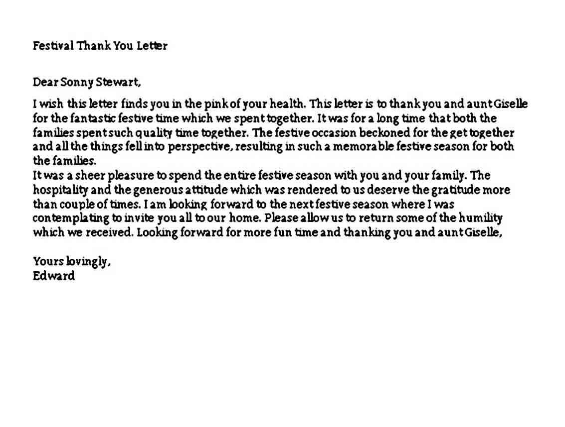 Festival Thank You Letter