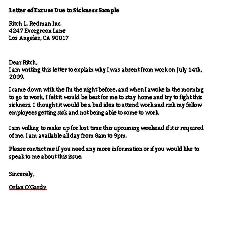 Formal Excuse Letter for Being Absent