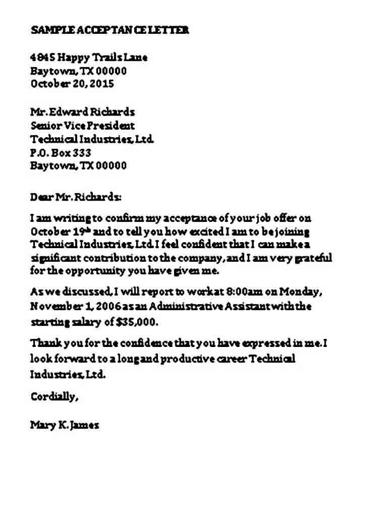 Formal Job Acceptance Letter