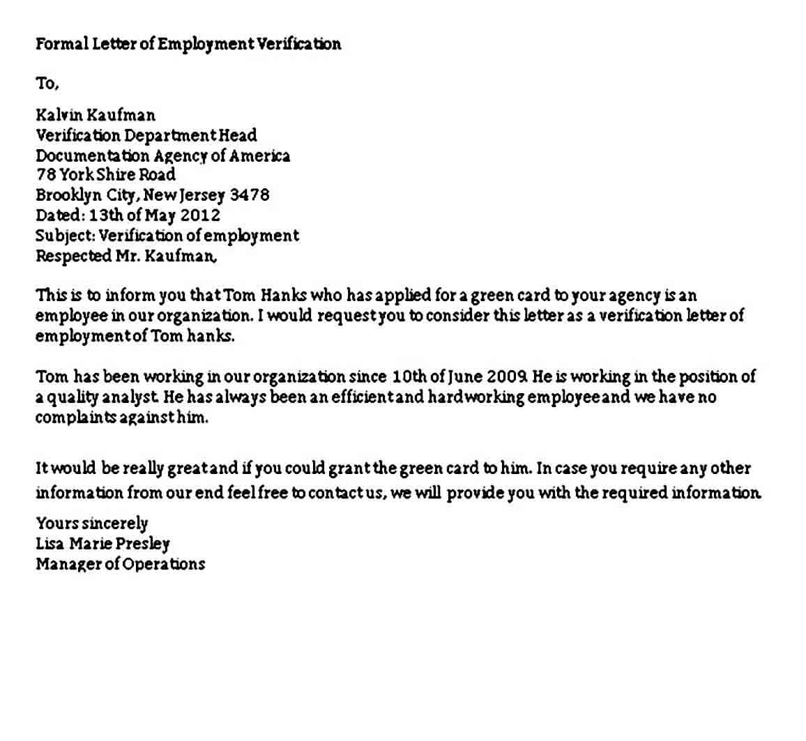 Formal Letter of Employment Verification