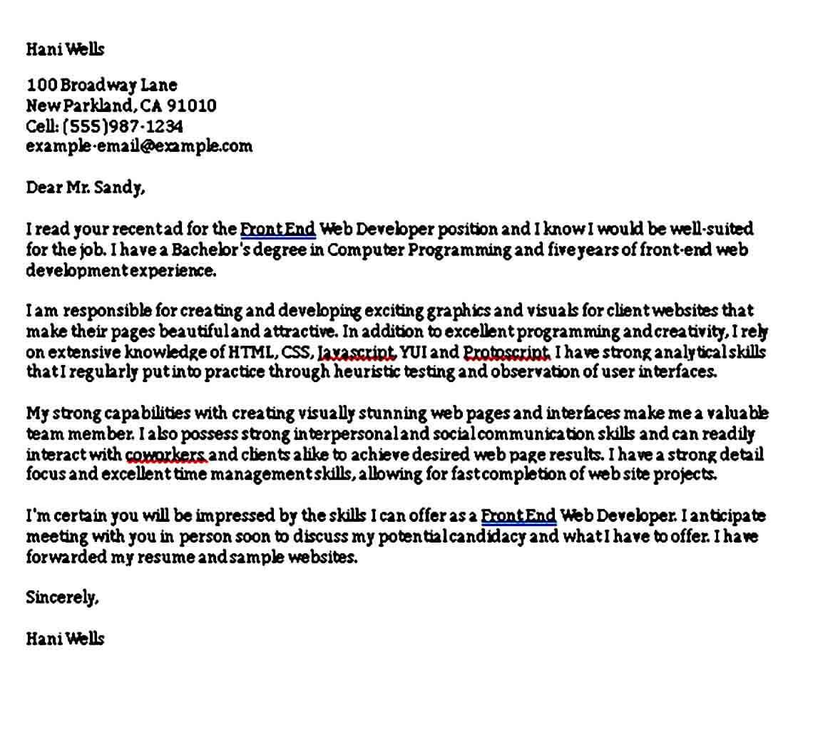 Front End Web Developer Cover Letter