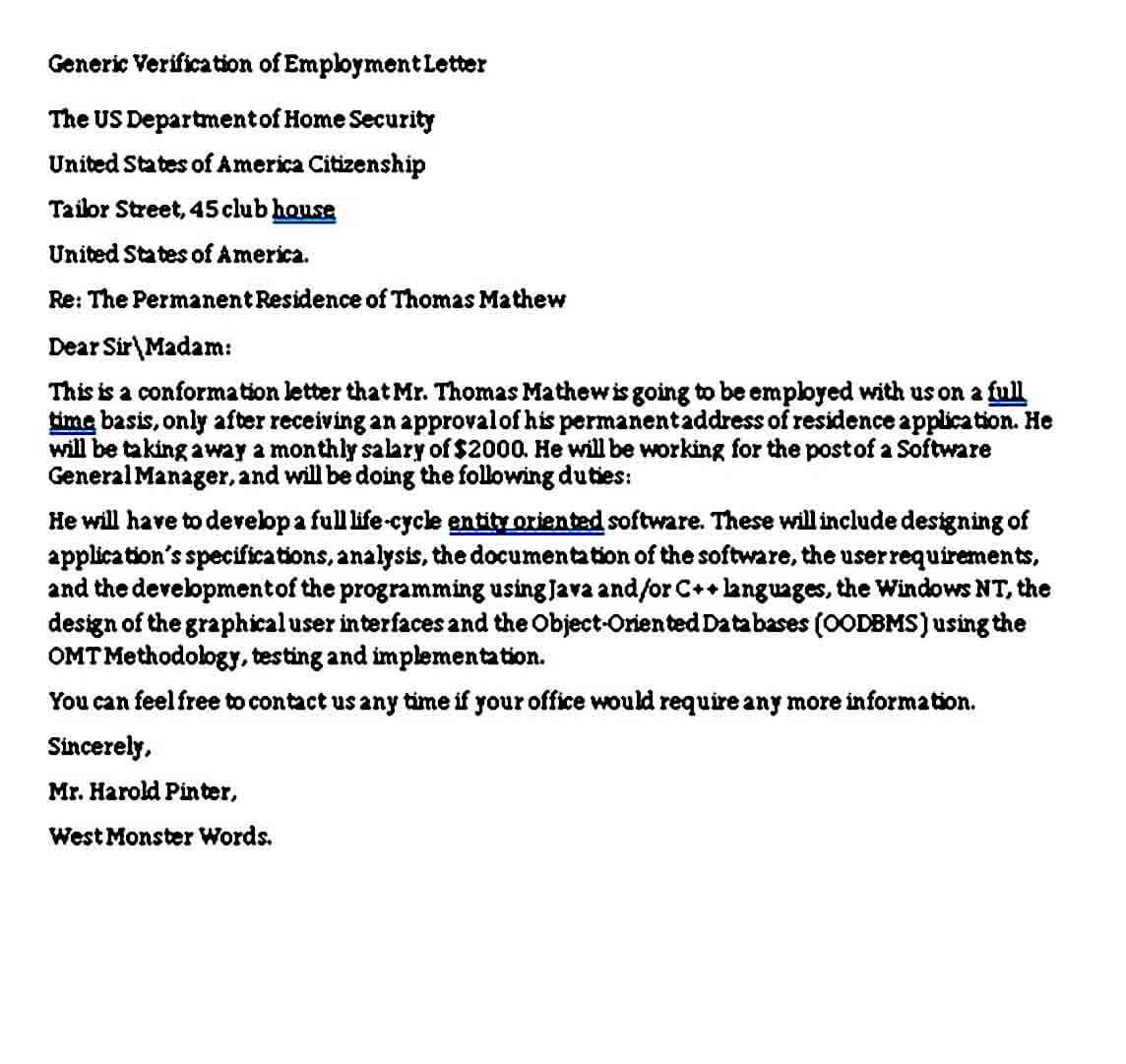 Generic Verification of Employment Letter