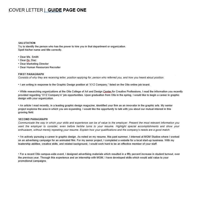 Graphic Design Cover Letter format