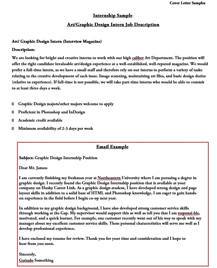 Graphic Design internship Cover Letter