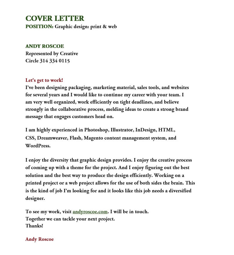 Graphic Design print web Cover Letter