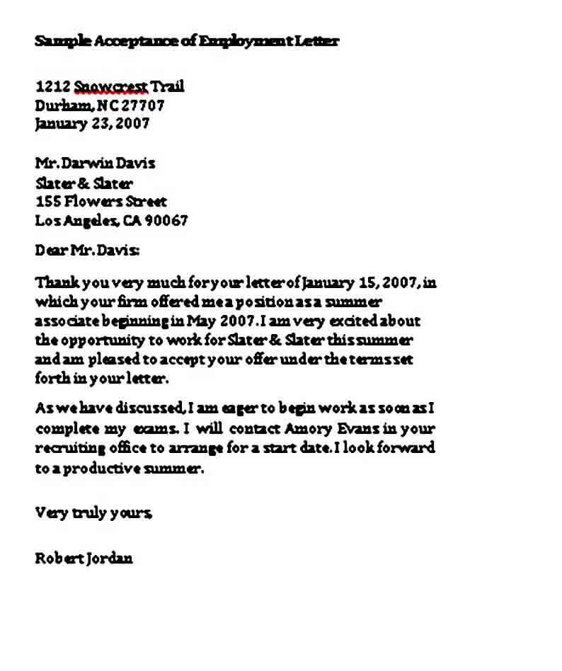 IT Job Acceptance Letter