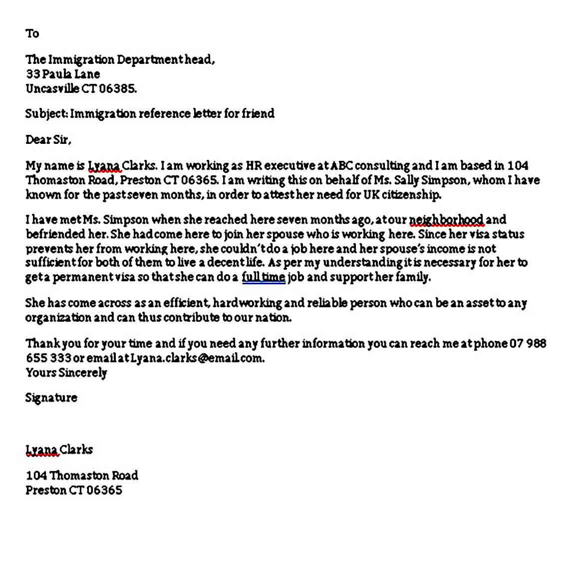 Immigration Reference Letter For a Friend Example