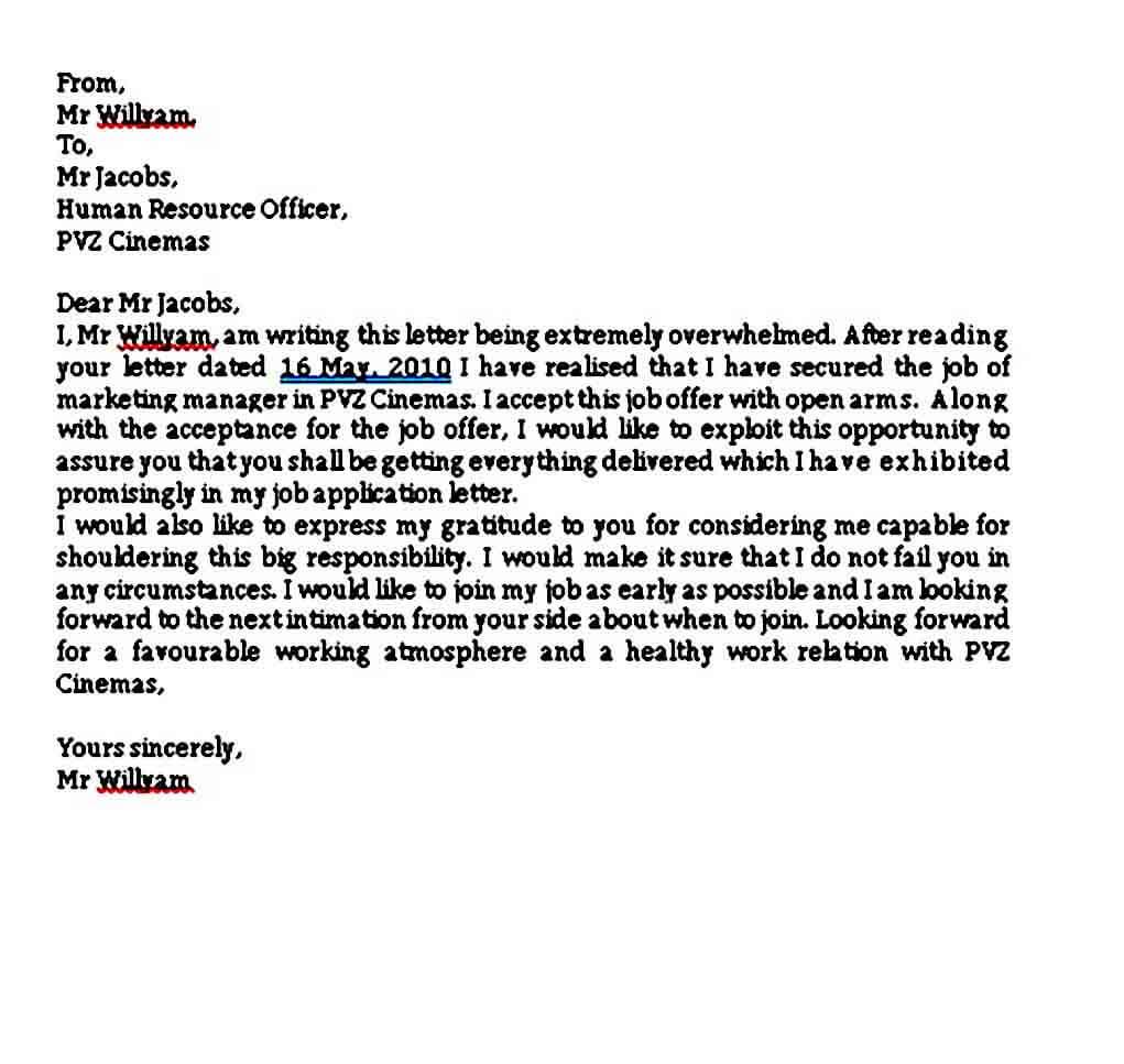 Job Acceptance Thank You Letter