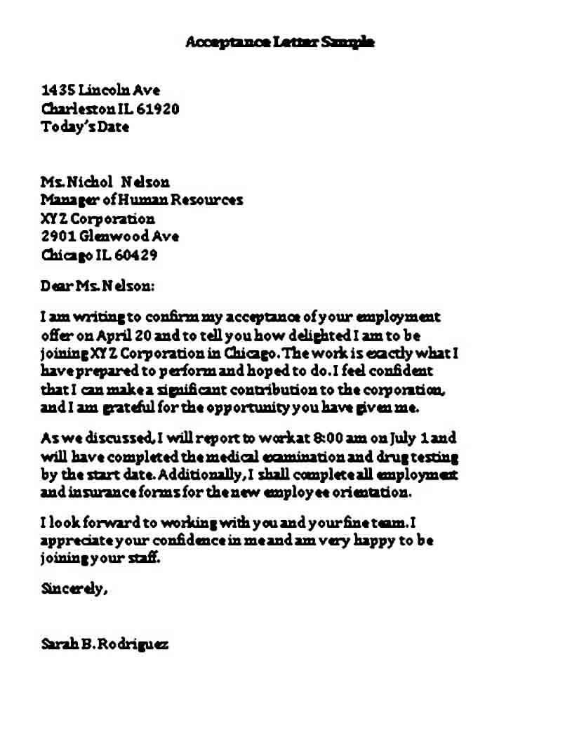 Job Application Acceptance Letter Sample